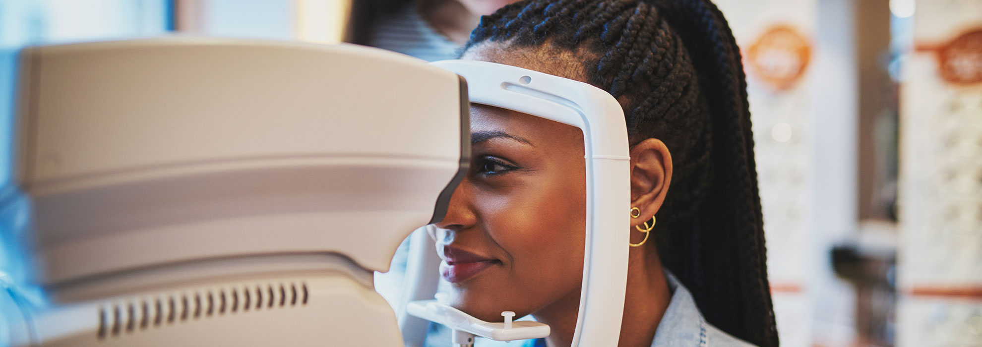 Black female during an eye exam